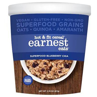 Earnest Eats Blueberry Chia Blend Hot and Fit Cereal, 2.35 Oz-Pk of 12