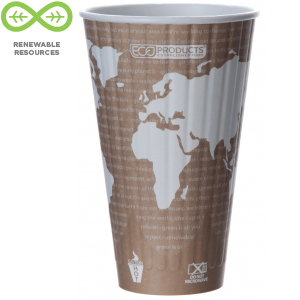 Eco Products 20oz World Art Insulated Hot Cup- Compostable- EP-BNHC20-WD, Case of 600