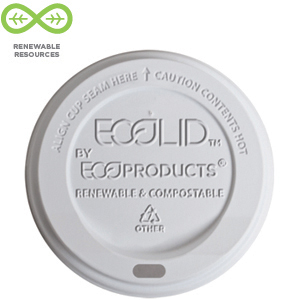 Eco Products 10-20 oz. Renewable & Compostable Hot Cup Lid - White, Case of 800