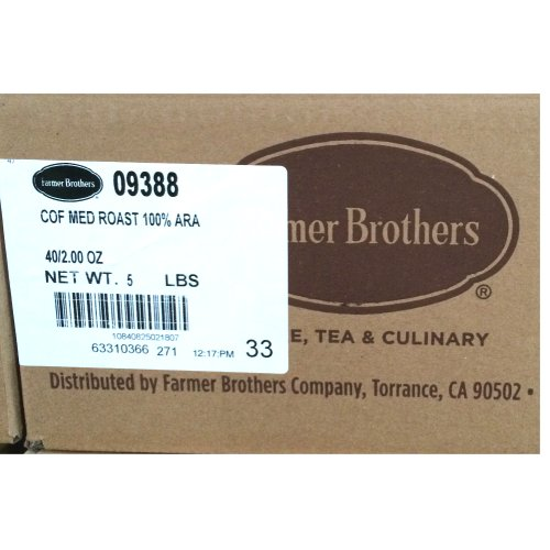 Farmer Brothers 100% Arabica Coffee - Ground, Medium Roast ,Case of 40- 2oz Pot Packs