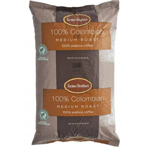 Farmer Brothers 100% Colombian Coffee, 5 lb Whole Bean