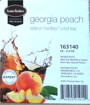 Farmer Brothers Georgia Peach Tea, Island Medley- 3 oz pouch-case of 24