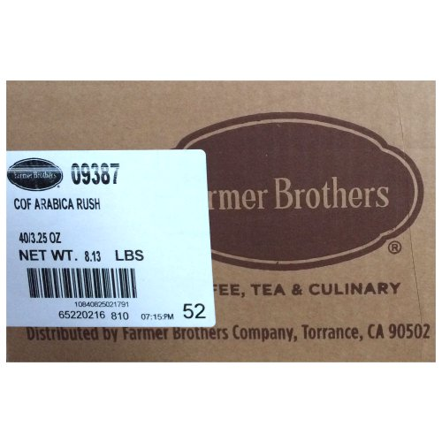 Farmer Brothers Arabica Rush Coffee, Case of 40 Pot Packs, 3.25 oz each