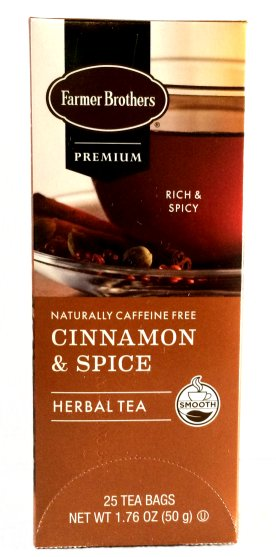 Farmer Brothers Cinnamon & Spice Herbal Tea, 25 bags