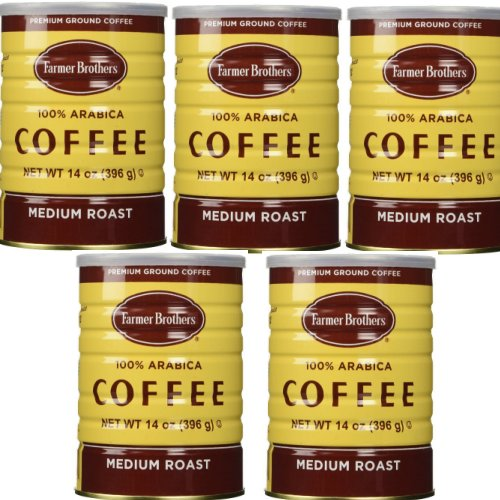 Farmer Brothers 100% Arabica Coffee, Classic Can- 14 Oz.-FLAT RATE PACK of 5