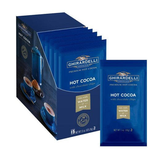 Ghirardelli Premium Hot Cocoa with Chocolate Chips (Water Soluble), 15 Single Serves