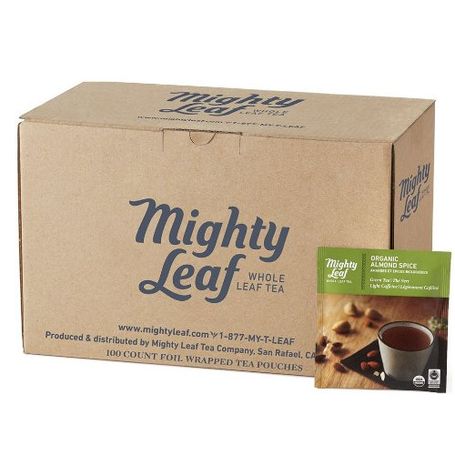 Mighty Leaf Organic Almond Spice Green Tea, 100 Tea Pouches
