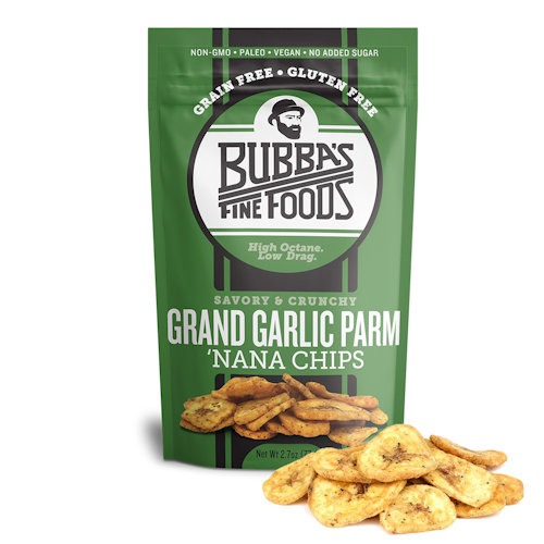 Bubba's Fine Foods Garlic Parm Nana Chips, Case of 8 Bags (2.7 oz ea)