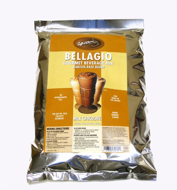 Caffe D'Amore Bellagio Barista Base Mix, Milk Chocolate (Coffee Free) - 3 lb Bag