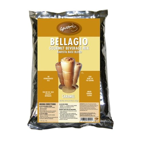Caffe D'Amore Bellagio Barista Base Mix, Caramel (Coffee Free) - 3 lb Bag