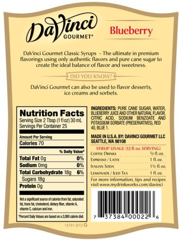 Da Vinci Blueberry Syrup, 750 ml