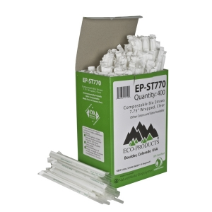 "Eco-Products 7.75"" Clear PLA Straw,Wrapped- Box of 400"