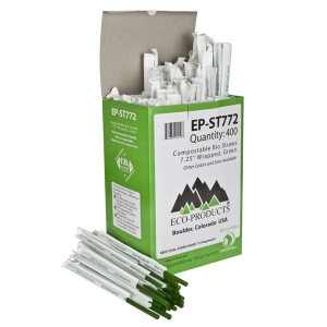 "Eco-Products 7.75"" Green PLA Straw,Wrapped- Box of 400"
