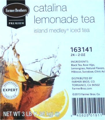 Farmer Brothers Catalina Lemonade Tea, Island Medley- 2 oz pouch-case of 24