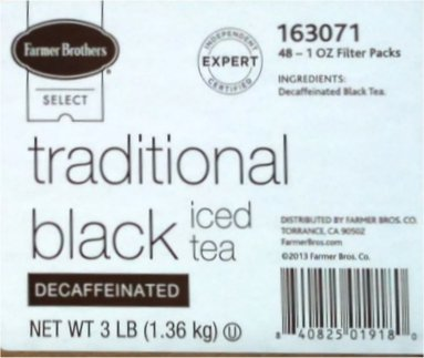 Farmer Brothers Black Tea Bags DECAF, Iced Tea-48 count, 1 oz each