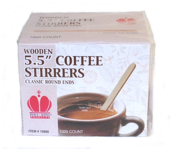 "Poly King Wooden Stir Sticks, 5.5"" Classic Round Ends - 1000 Count"