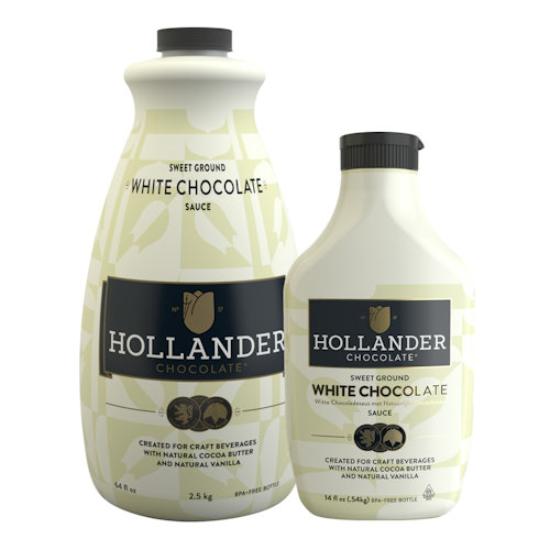 Hollander Chocolate White Chocolate Sauce, 14 oz Squeeze Bottle