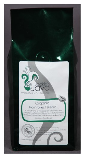 Jackie's Java ORGANIC RAINFOREST BLEND Coffee, Med/Dark Roast