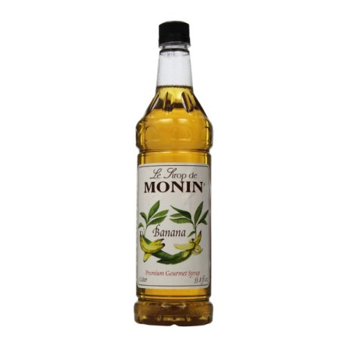 Monin Banana Syrup, 1 liter bottle PET Plastic